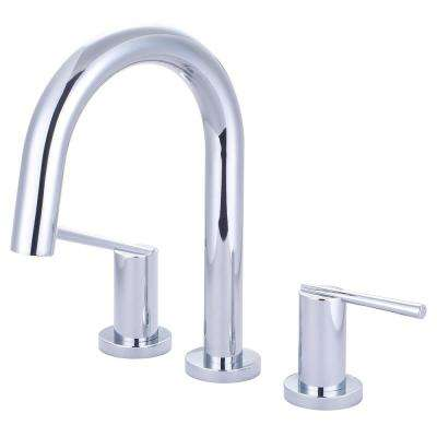 i2v 2-Handle Deck Mount Roman Tub Faucet with Gooseneck Spout in Polished Chrome