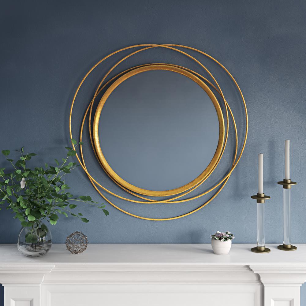 Medium Round Lovely Gold Leaf Finish Modern Mirror (31 in. H x 32 in. W)