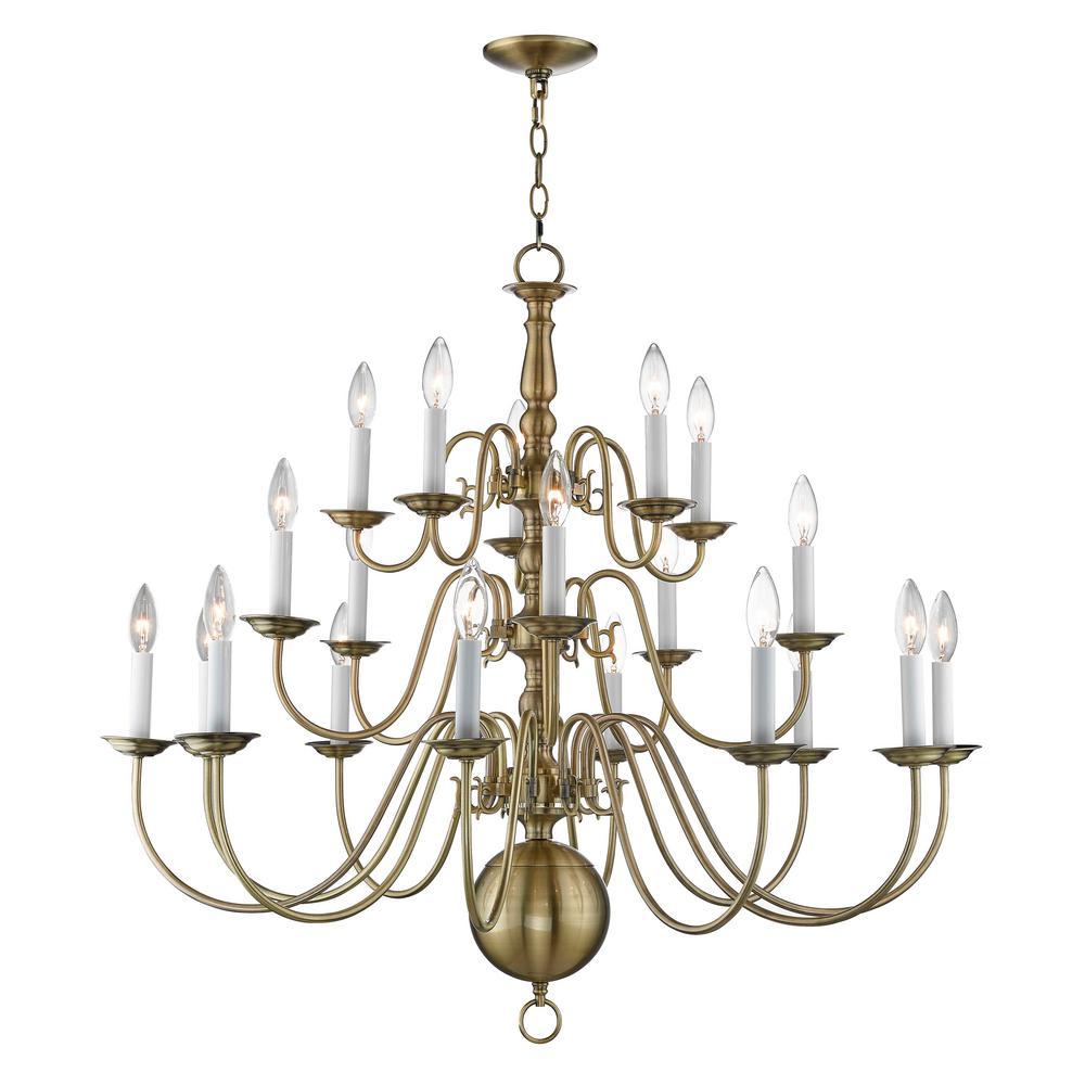Williamsburgh 20-Light Antique Brass Foyer Chandelier