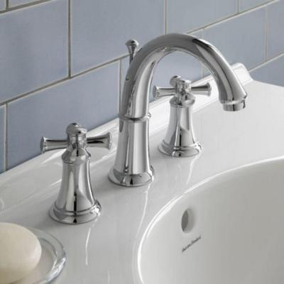 Portsmouth 8 in. Widespread 2-Handle Mid-Arc Bathroom Faucet with Metal Cross Handles in Brushed Nickel