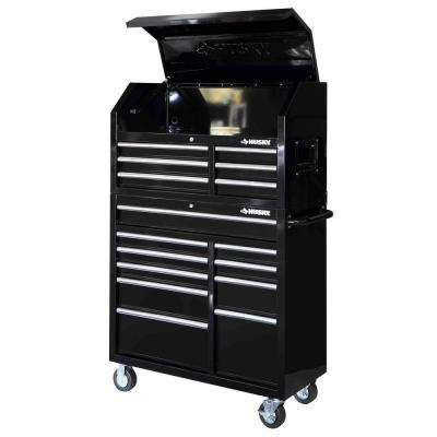 41 in. 16-Drawer Tool Chest and Rolling Tool Cabinet Set, Black
