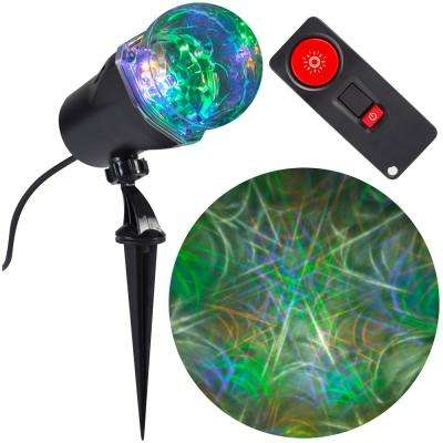 4-Light Remote Control Projection Stake Multi-Color LED Super Bright Spider Web 15-Programs (GOPlW)