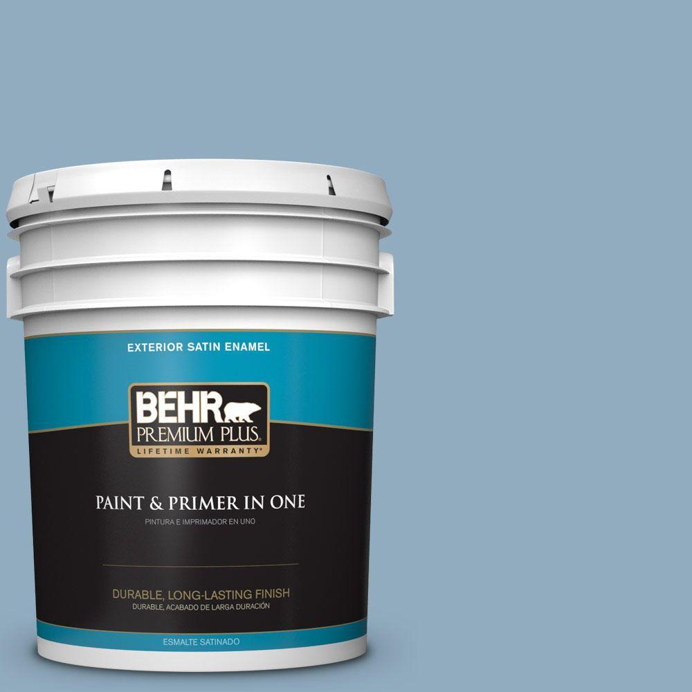 BEHR Premium Plus 5-gal. #BIC-10 Cotton Denim Satin Enamel Exterior Paint