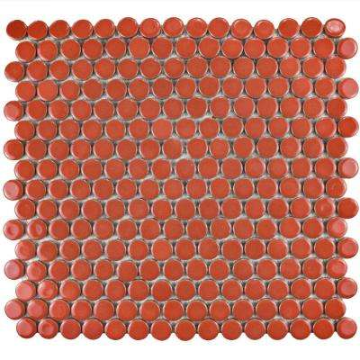 Hudson Penny Round Vermilio Porcelain Mosaic Tile - 6 in. x 6 in. Tile Sample