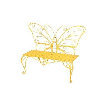 Butterfly Iron Yellow Patio Bench