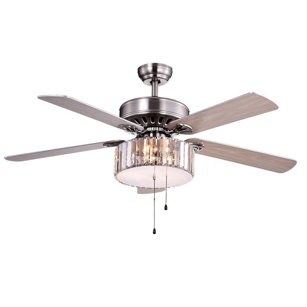 Kimalex 52 in. Nickel Ceiling Fan with Light Kit