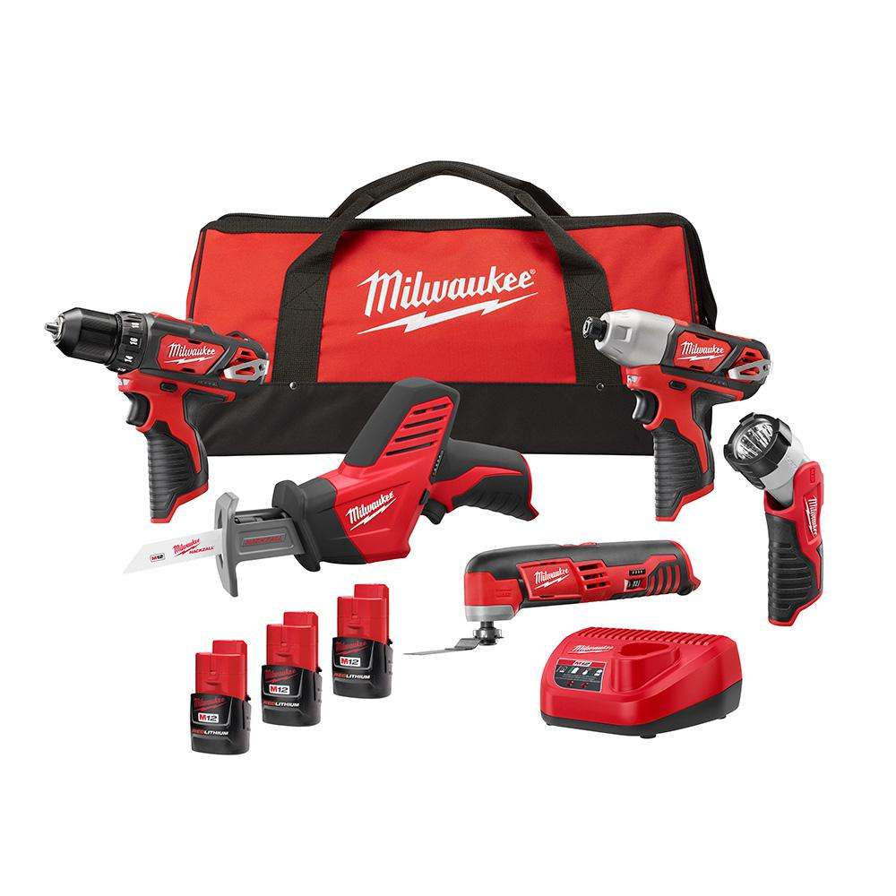 Milwaukee M12 12-Volt Lithium-Ion Cordless Combo Kit (5-Tool) W/ (3) 1.5Ah Batteries, Charger & Tool Bag