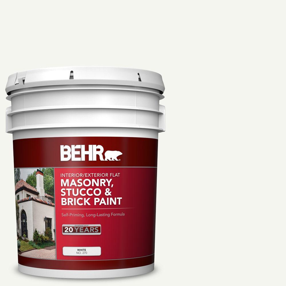 BEHR 5 Gal. #MS-31 White Flat Interior/Exterior Masonry, Stucco and Brick Paint