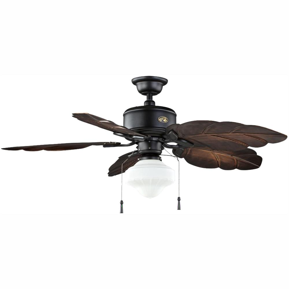 Hampton Bay Nau 52 In Led Indoor Outdoor Gilded Iron Ceiling Fan With Light Kit