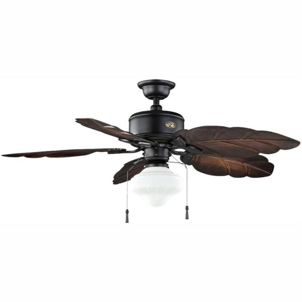 Nassau 52 in. LED Indoor/Outdoor Gilded Iron Ceiling Fan with Light Kit