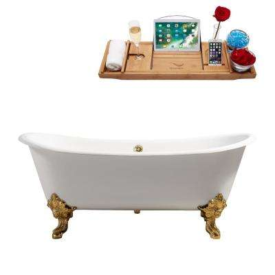 72 in. Cast Iron Clawfoot Non-Whirlpool Bathtub in Glossy White