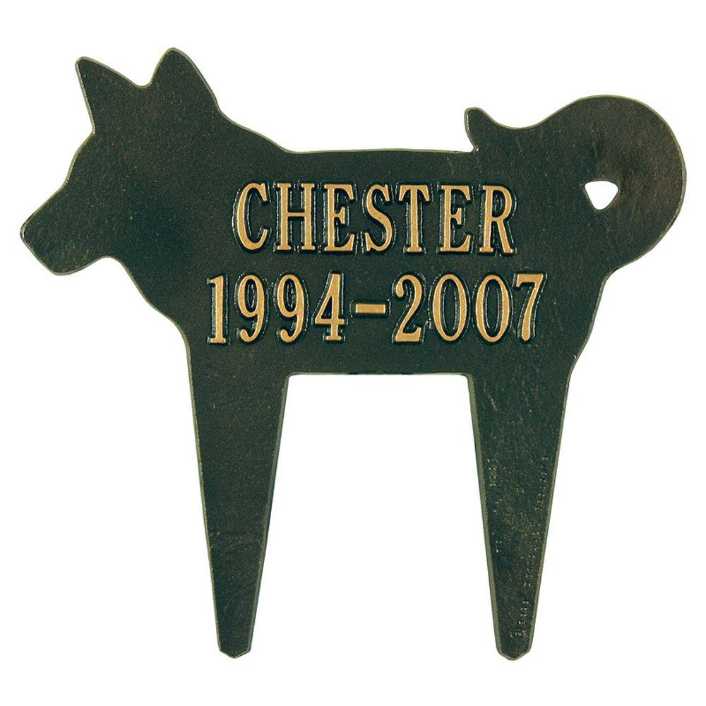 Bronze/Gold Two Line Lawn Silhouette Dog Marker