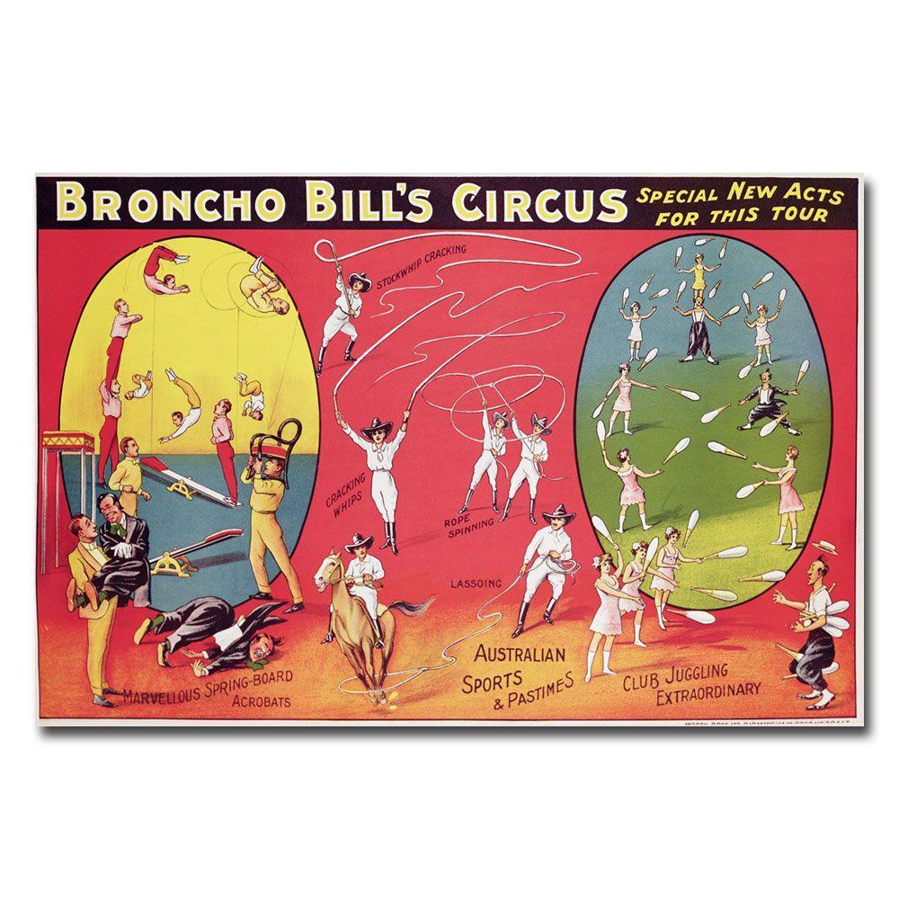 30 in. x 47 in. Broncho Bills Circus Brimingham 1890s Canvas