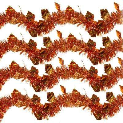 9 ft. Autumn Holographic Maple Leaf Tinsel (Set of 4)