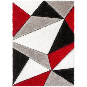 San Francisco Venice Red Modern Geometric Abstract 3 ft. 11 in. x 5 ft. 3 in. 3D Carved Shag Area Rug