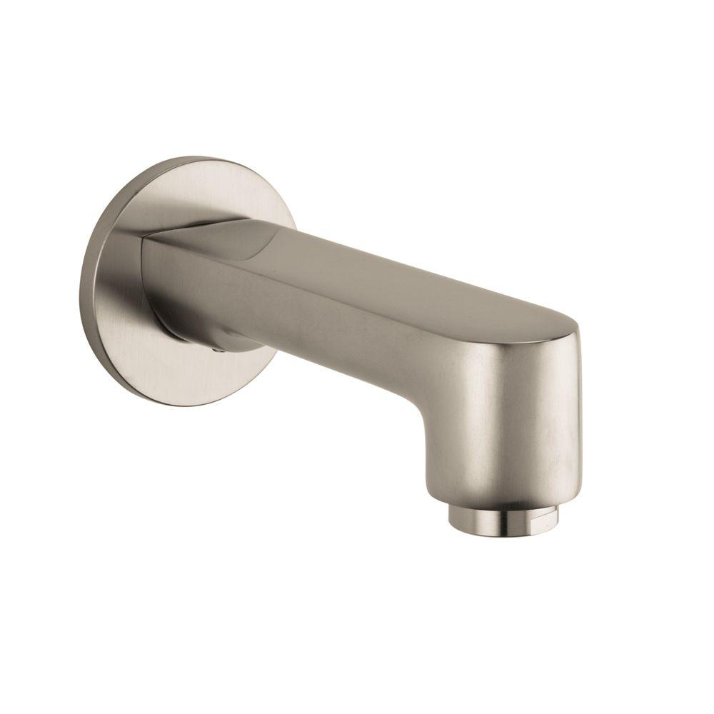 hansgrohe metris s tub spout in brushed nickel 14413821 the home depot. Black Bedroom Furniture Sets. Home Design Ideas