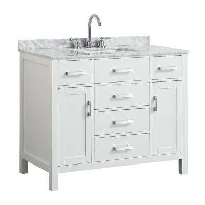 Hampton 43 in. W x 22 in. D Bath Vanity in White with Marble Vanity Top in White with White Basin