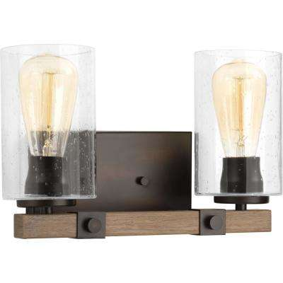 Barnes Mill Collection 2-Light Antique Bronze Vanity Light with Seeded Glass Shades