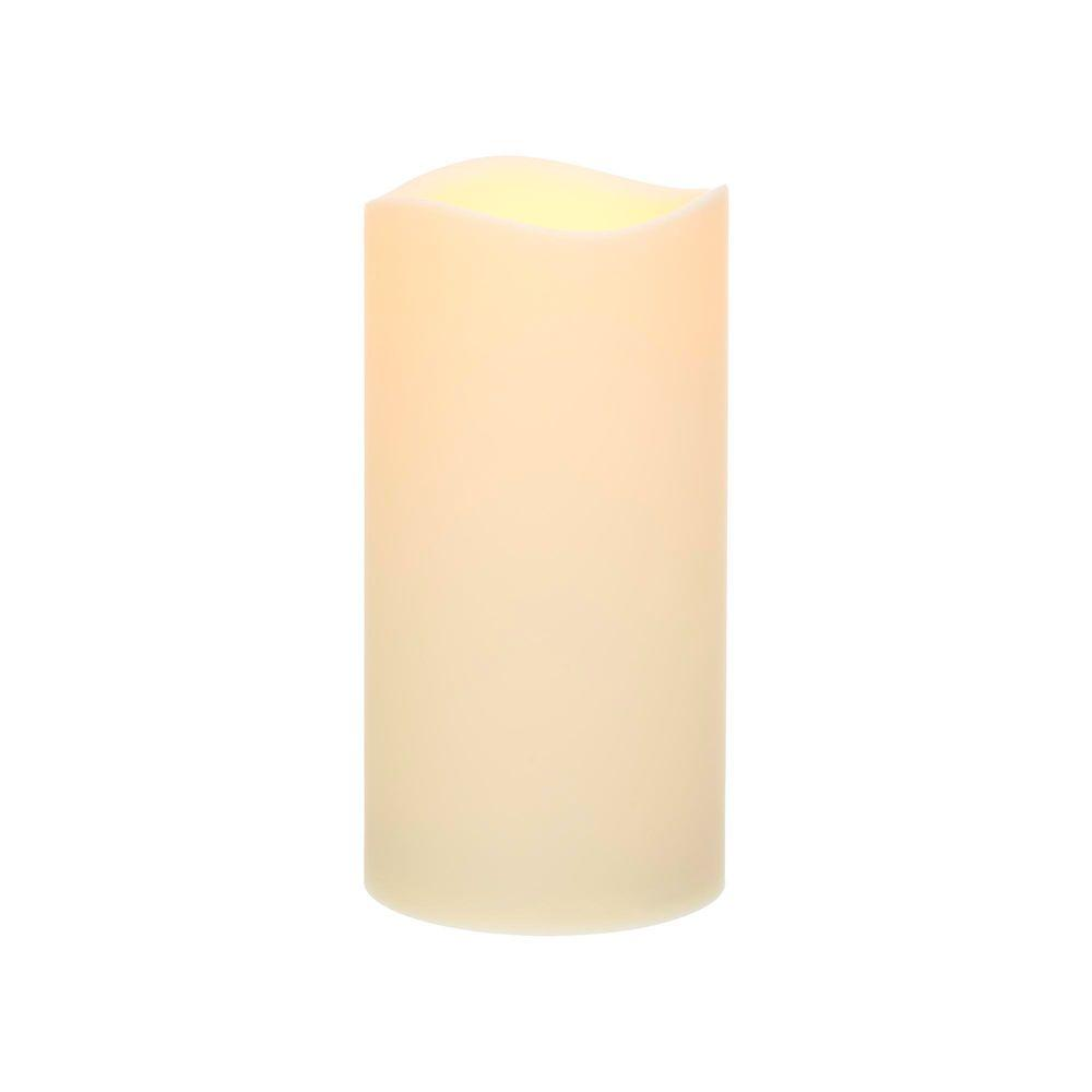 Home Accents Holiday 9 in. H Bisque Resin LED-Lit Candle with Timer