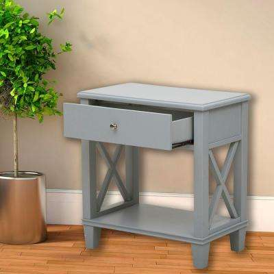 Gray Storage Side Table