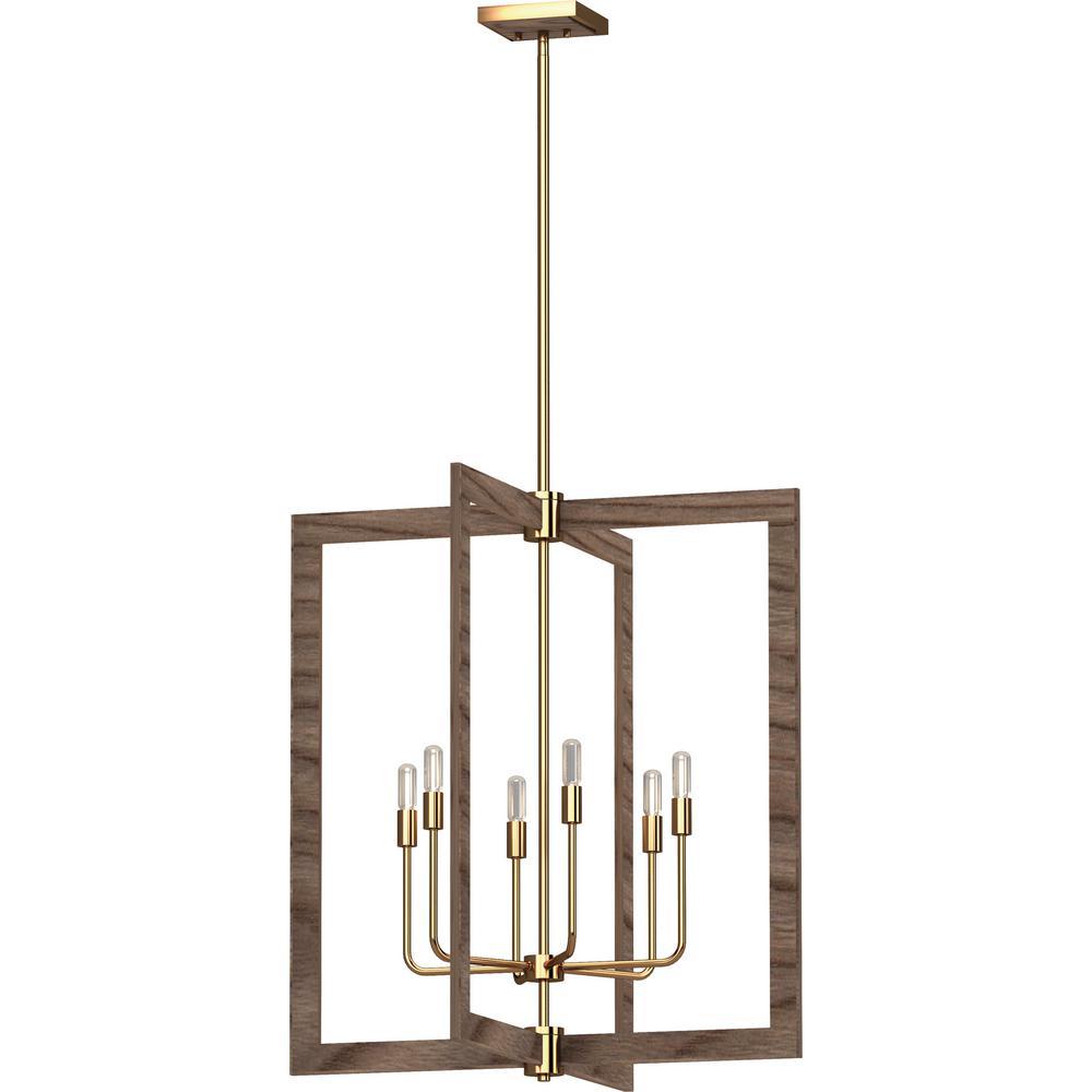 Nina 6-Light Pecan and Antique Gold Indoor Chandelier