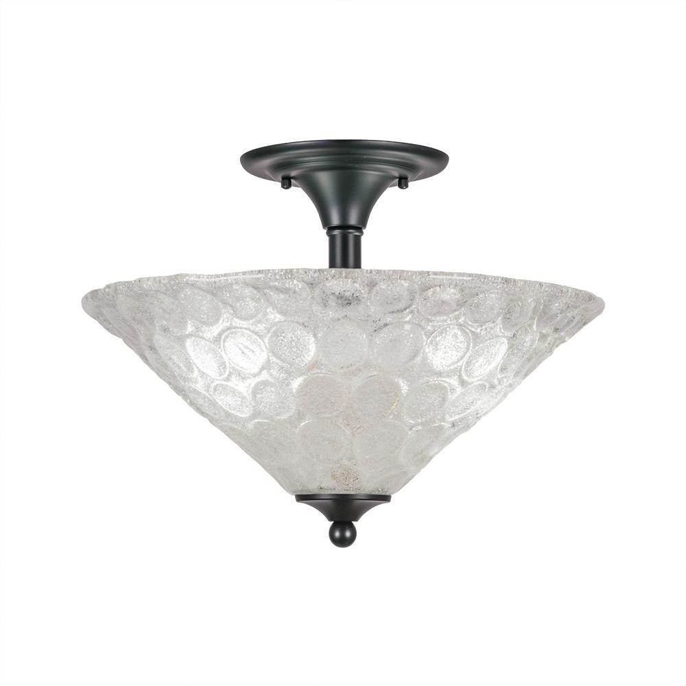 16 in. 2-Light Matte Black Semi-Flush Mount with Italian Bubble Glass