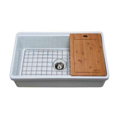 Tosca Farmhouse Fireclay 33 in. Single Bowl Kitchen Sink in White with Cutting-Board, Bottom Grid and Strainer