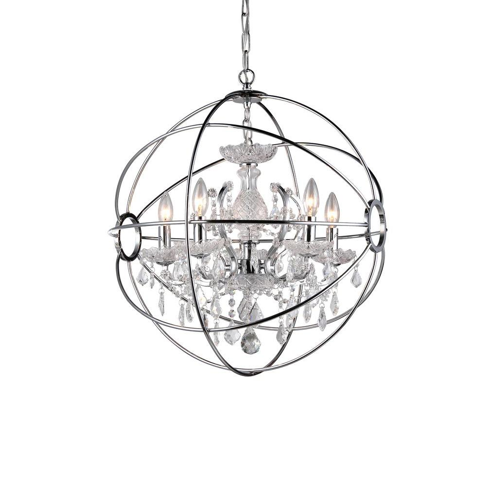 Warehouse Of Tiffany Saturn S Ring 6 Light Chrome Indoor Chandelier With Shade Rl6806b The Home Depot