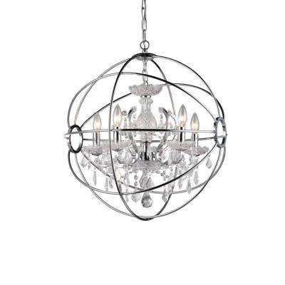 Saturn's Ring 6-Light Chrome Indoor Chandelier with Shade