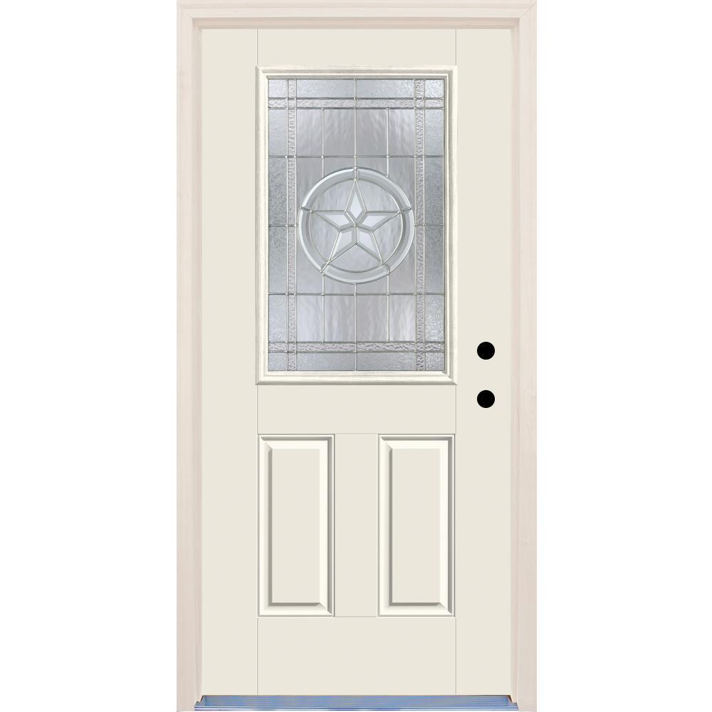 Half lite texas star steel prehung double door unit 40 hd for Home depot front doors with glass
