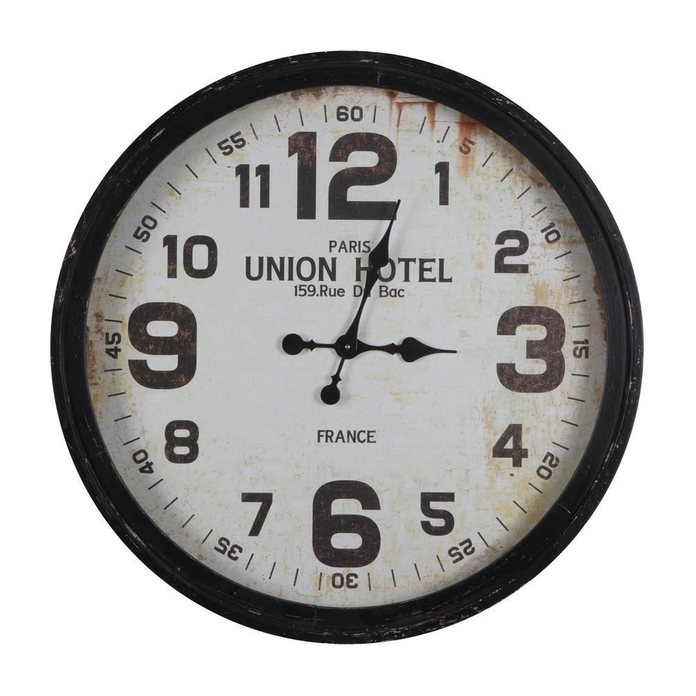 8ddf07416732 Yosemite Home Decor Rue Du Bac Black Oversized Wall Clock CLKDE4066 ...
