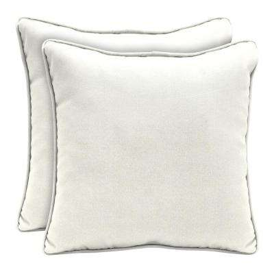 Merveilleux Sunbrella Canvas White Square Outdoor Throw Pillow (2 Pack)