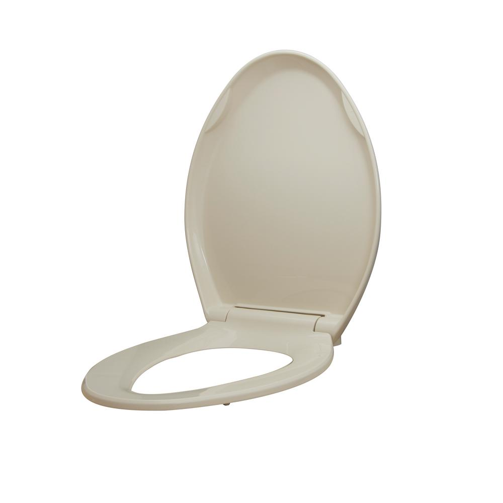 Glacier Bay Elongated Slow Closed Front Toilet Seat with Quick Release Hinges in Bone