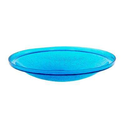14 in. Dia Teal Blue Reflective Crackle Glass Birdbath Bowl