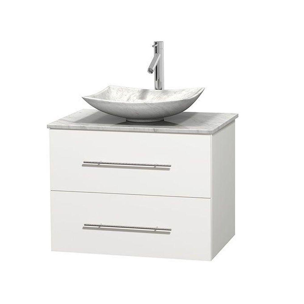 Wyndham collection centra 30 in vanity in white with - 30 bathroom vanity with marble top ...