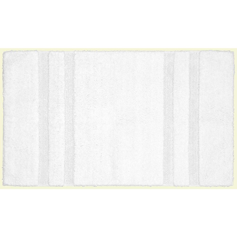 Garland Rug Majesty Cotton White 24 in. x 40 in. Washable Bathroom Accent Rug