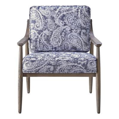 Samuel Arm Chair in Blue Paisley Fabric with Brown Brushed Wood Frame K/D