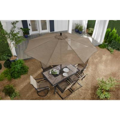 10 ft. Crestridge Steel Market Outdoor Patio Umbrella in Sling