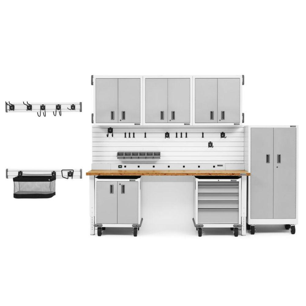 Gladiator Premier Series 90 in. H x 126 in. W x 25 in. D Steel Garage Cabinet and Wall Storage System in White (17-Pieces)