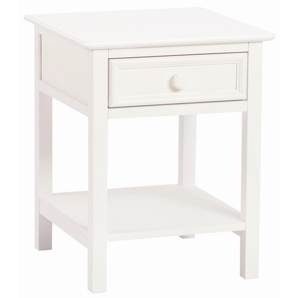 Wakefield 1-Drawer White Nightstand
