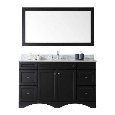 Talisa 60 in. W Bath Vanity in Espresso with Marble Vanity Top in White with Square Basin and Mirror