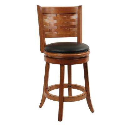 Sumatra 24 in. Brush Oak Swivel Cushioned Bar Stool