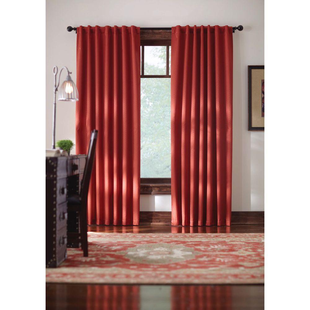 Semi-Opaque Terracotta Monaco Thermal Foam Backed Lined Back Tab Curtain - 52 in. W x 84 in. L