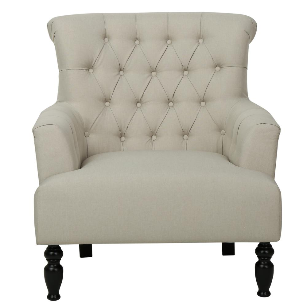 NobleHouse Noble House Byrnes Tufted Beige Fabric Club Chair, Beige and Dark Brown