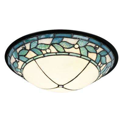 Green Leaves 150-Watt Tiffany Bronze and Hand Rolled Art Glass Integrated LED Ceiling Flush Mount