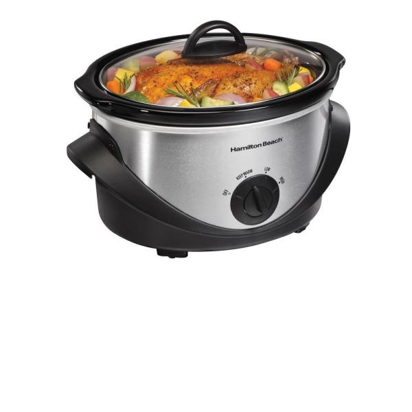 Hamilton Beach 4 Qt. Black Chrome Slow Cooker with Temperature Settings and Glass Lid