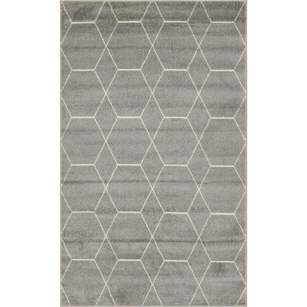 Trellis Frieze Dark Gray/Ivory 8 ft. x 11 ft. Geometric Area Rug