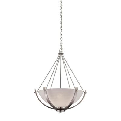 Casual Mission 3-Light Brushed Nickel Chandelier With White Lined Glass Shade