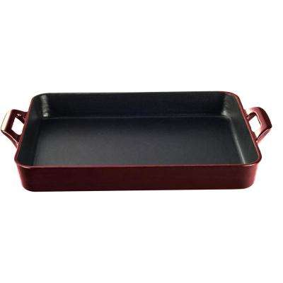 Shallow Cast Iron Roasting Pan with Enamel in Ruby