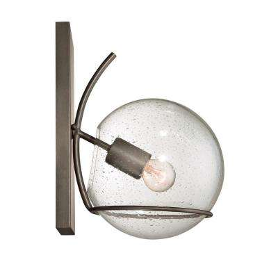 Watson 1-Light Metallic Bronze Sconce with Recycled Clear Seedy Glass
